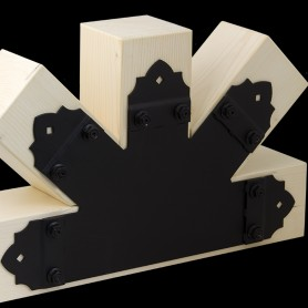Spojka pětiramenná plochá štítová ozdobná černá - SDLPC 315x200x85x2,5