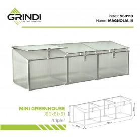 Polykarbonátový zahradní skleník - 120x51x51 - trojitý